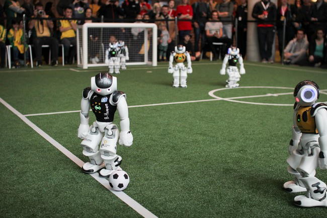 A B-Human robot taking a kick-in in the RoboCup 2019 semifinal.